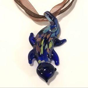 Art Glass Gecko Necklace